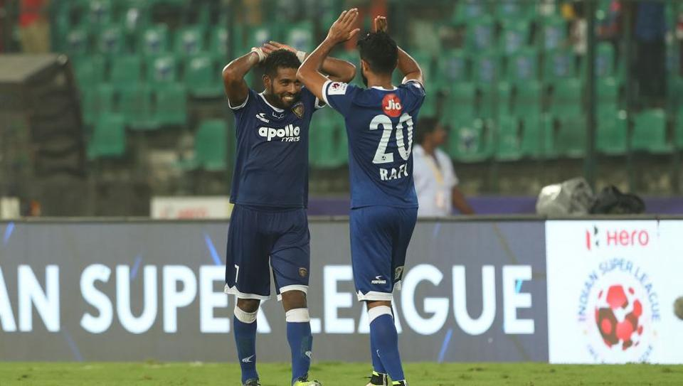 Gregory Nelson and Mohammed Rafi of Chennaiyin FC celebrate after the home team beat NorthEast United FC 3-0 in the Indian Super League.  (ISL / SPORTZPICS)