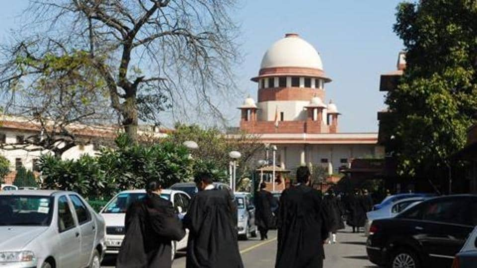 Lawyers outside Supreme Court.