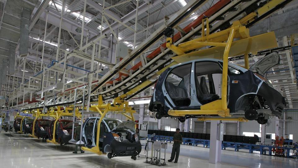 The plant for the Tata Nano car at Sanand in Gujarat.