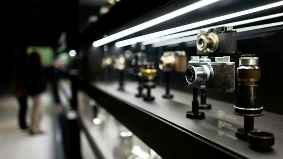 Vintage cameras of German camera manufacturer Leica are on display at the Leica headquarters in Wetzlar, Germany.
