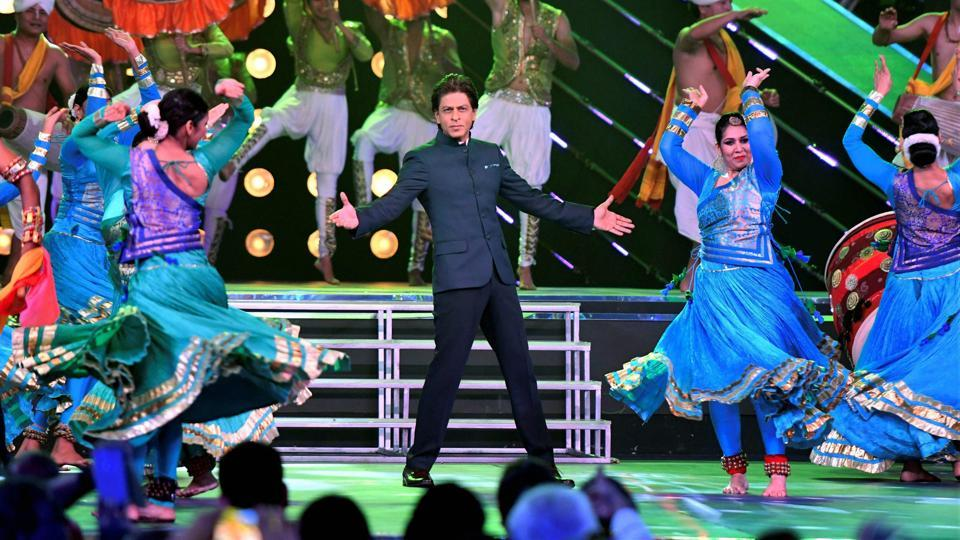 Actor Shah Rukh Khan performs during the inaugural ceremony of 48th edition of the International Film Festival of India in Panaji on Monday. (PTI)