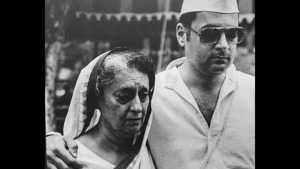 Indira Gandhi was broken after the news of Sanjay Gandhi's untimely death in a plane crash. Here seen at his funeral.  (Indira Gandhi Memorial Museum Archives)