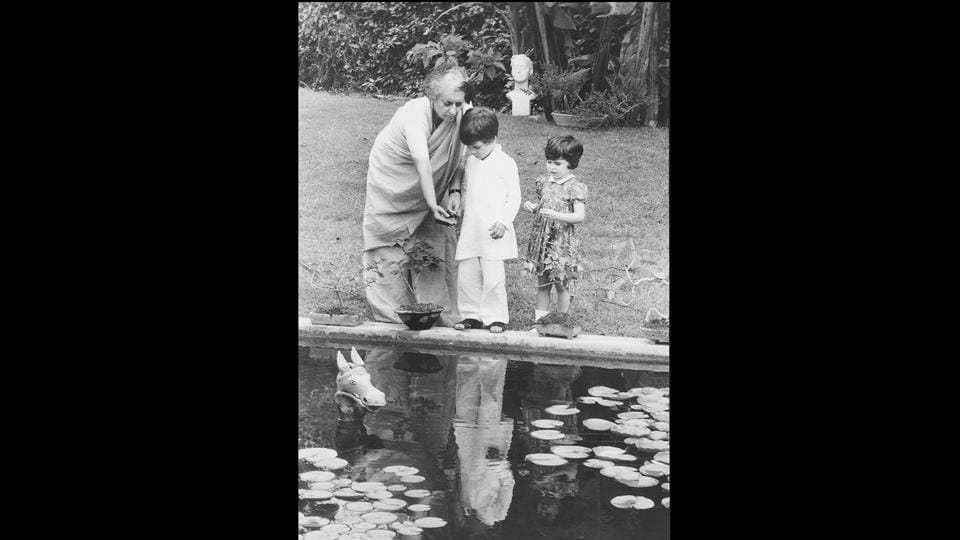 Once her grandchildren Rahul and Priyanka were born, Indira Gandhi spent a lot of time with them at home, especially in the garden by the lotus pond. This photograph dates back to around 1975. (Paul Saltzman)