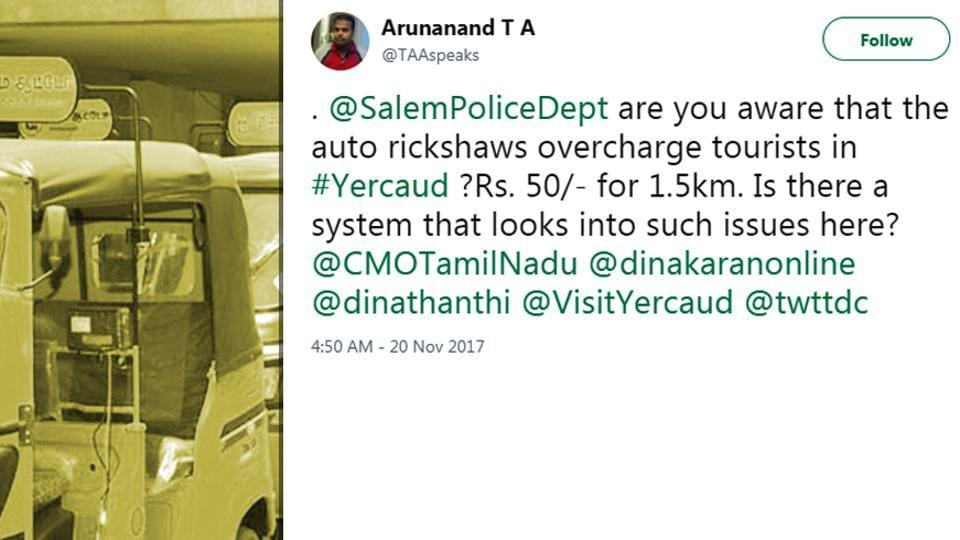 Man complains about autos in Tamil Nadu, wrongly tags cops from US' Salem