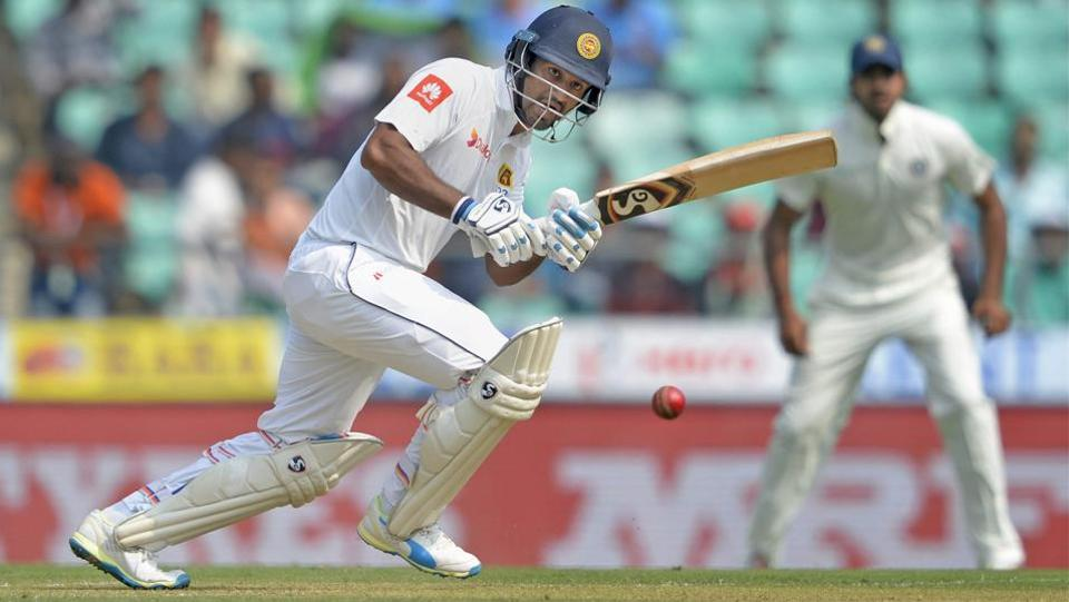 Sri Lankan batsman Dimuth Karunaratne plays a shot en route to his half century. (PTI)