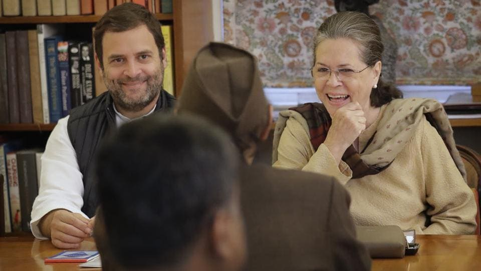 India's main opposition Congress party president Sonia Gandhi(R) with party vice president and her son Rahul Gandhi talks to Karan Singh during the Congress Working Committee (CWC) meeting in New Delhi on  Monday, November 20, 2017. Rahul Gandhi is expected to take over the party realms from his mother in December. (Manish Swarup / AP)