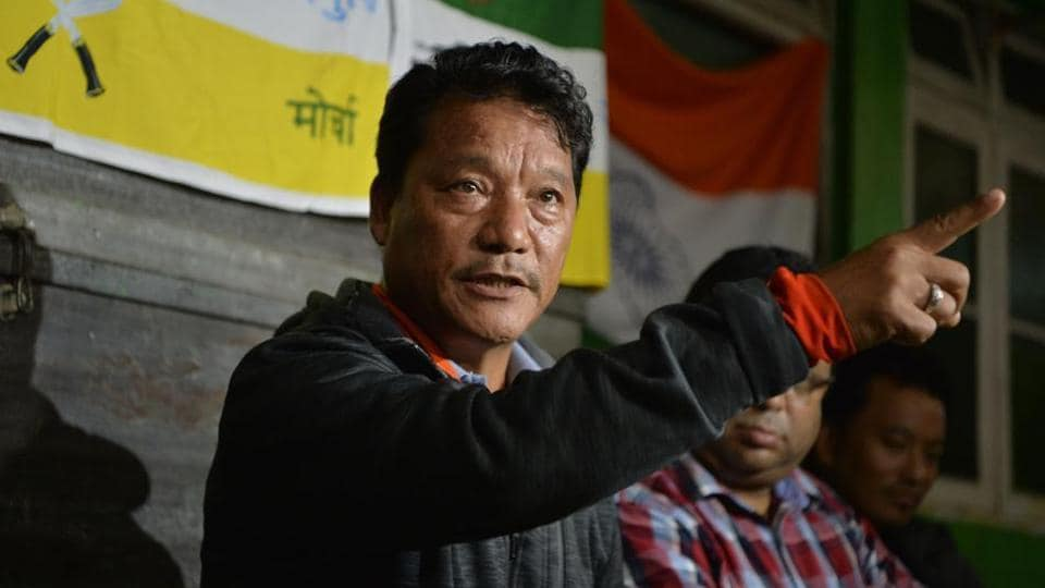Bimal Gurung, head of Gorkha Janmukti Morcha , speaks at a news conference during the 20th day of an indefinite strike called by GJM in Darjeeling on July 4.