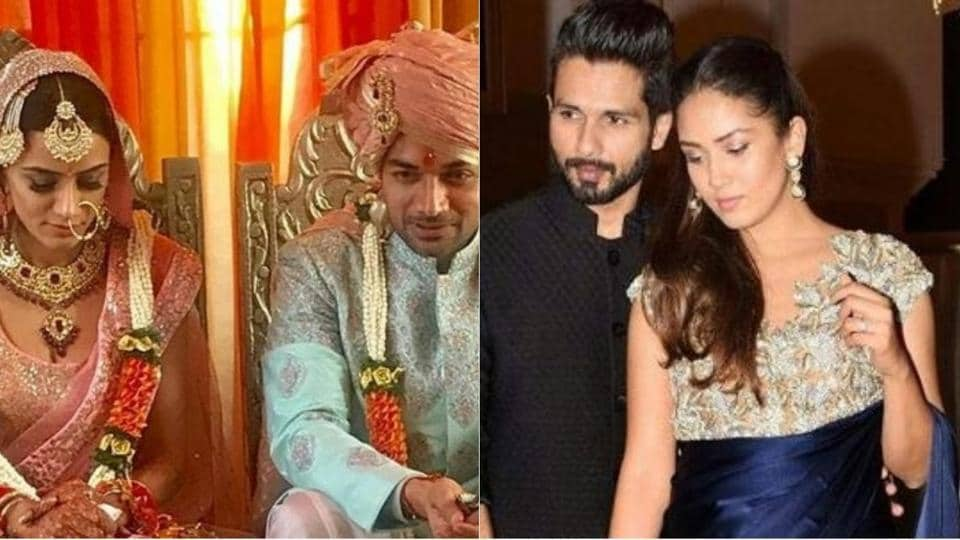 Shahid Kapoor and wife Mira Rajput were spotted at the wedding reception of TV actors Smriti Khanna and Gautam Gupta of Meri Aashiqui Tumse Hi fame.