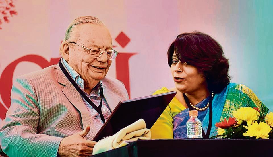 Ruskin Bond with Sumita Misra, chairperson, Chandigarh Literary Society, during Chandigarh Literati 2017 at Lake Club on Saturday.