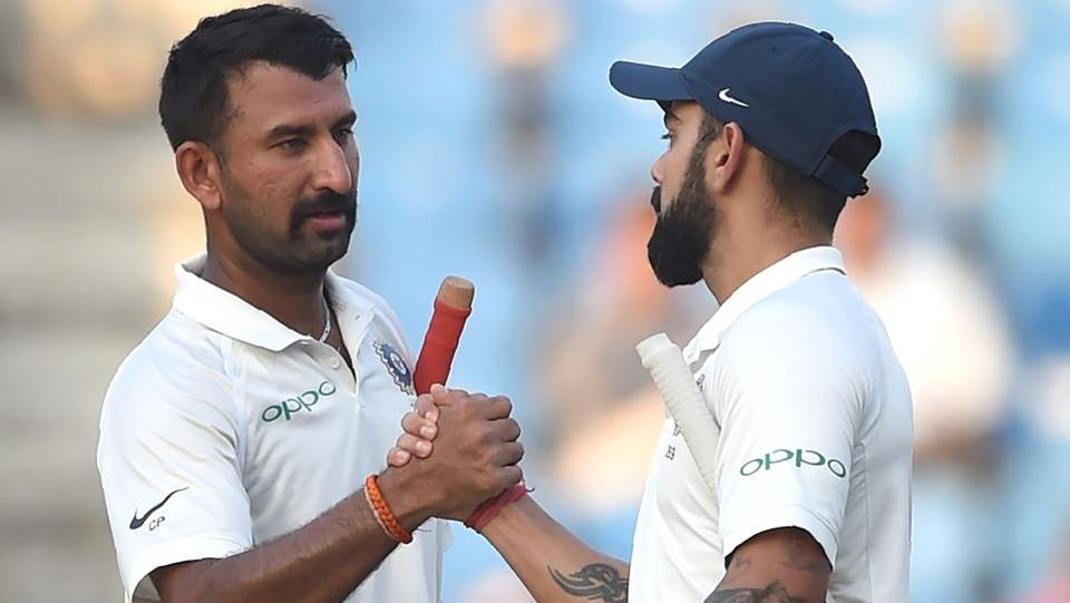 Virat Kohli and Cheteshwar Pujara batted for the rest of the day as India reached stumps at 312/2.  (AFP)