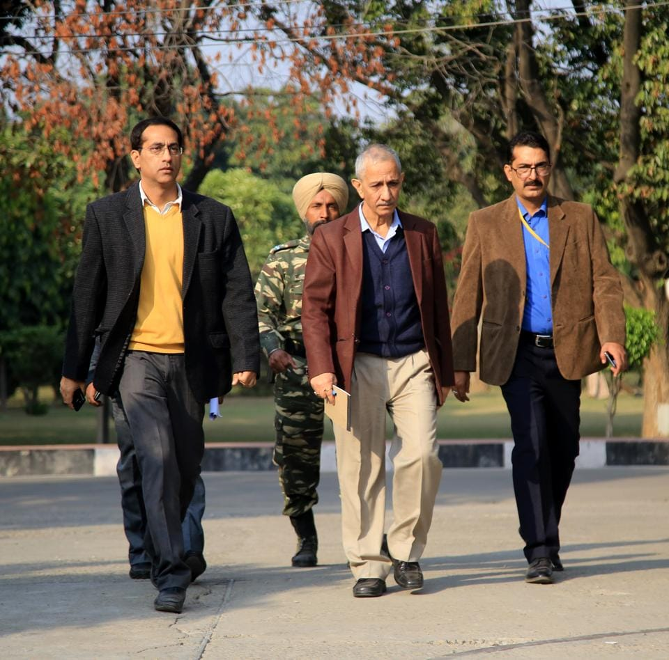 The Centre's special representative for Kashmir, Dineshwar Sharma, during his visit, in Jammu, on Saturday.