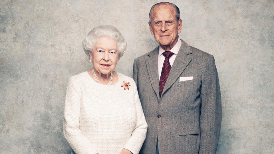 A handout photo shows Britain's Queen Elizabeth and Prince Philip in the White Drawing Room at Windsor Castle in early November, pictured against a platinum-textured backdrop, in celebration of their platinum wedding anniversary on November 20, 2017. (Matt Holyoak / CameraPress / PA Wire / Handout via REUTERS)