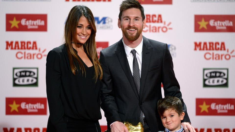 Lionel Messi's wife Antonella Roccuzzo and their son Thiago were also present at the ceremony.  (AFP)