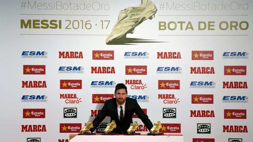 The fourth Golden Shoe is just another feather in Lionel Messi's illustrious cap.  (AFP)