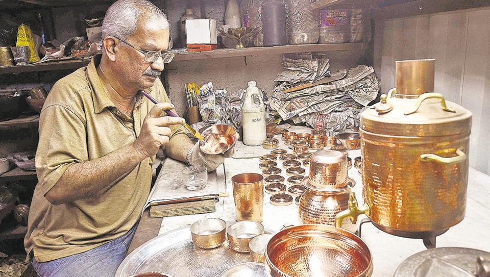 Kishore Karde at his workshop in Tambat Ali, Kasba peth. Karde says Studio Coppre has revived the dying art of coppersmiths in the city.