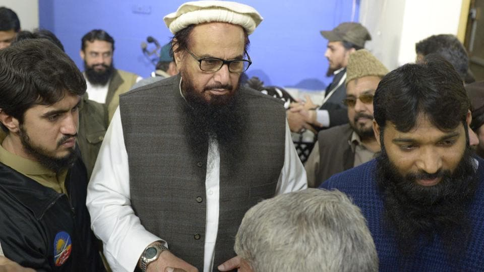 Lashkar-e-Taiba founder Hafiz Saeed meets supporters at Jamia al Qadsia Masjid following his release in Lahore on Friday.