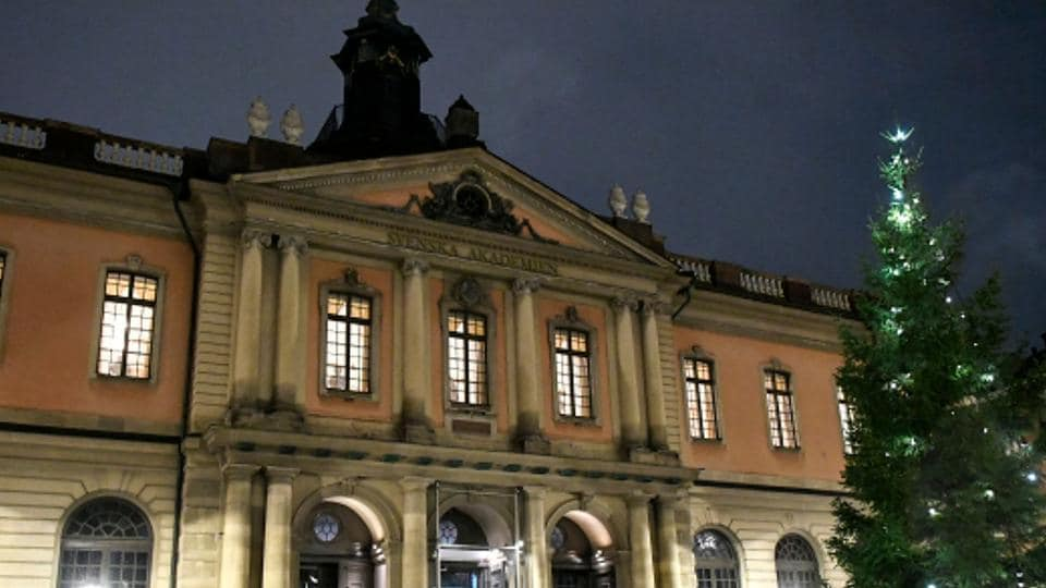 A view of the Stock Exchange Building which houses the Swedish Academy, in Stockholm's old city, on November 23.