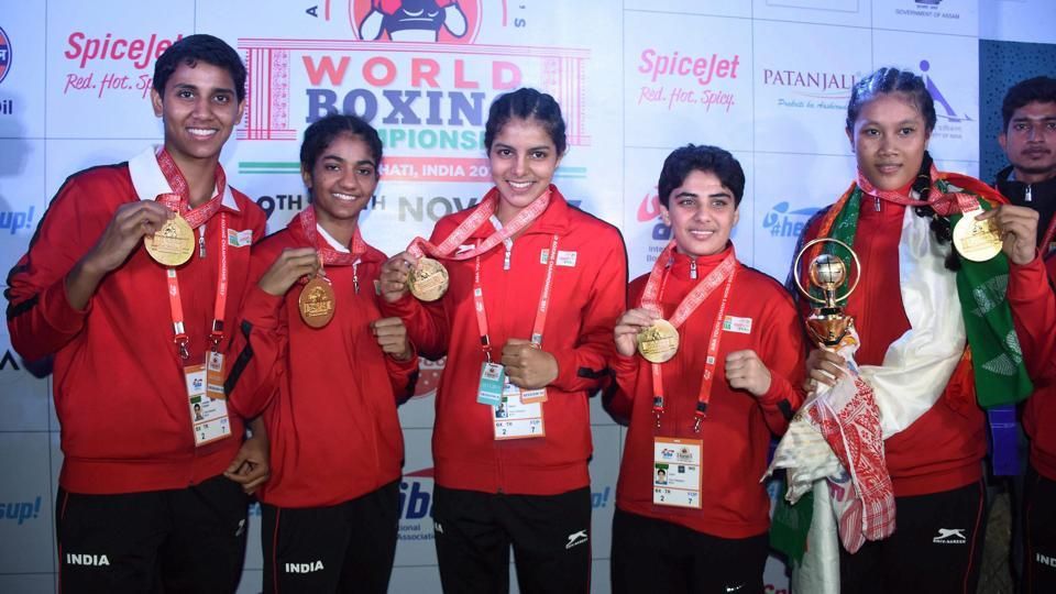 Indian gold medallist boxers (from left) Shashi Chopra, Nitu, Sakshi, Jyoti and Ankushita Boro posing for a photograph during the AIBA Youth Women's World Boxing Championship 2017 at Nabin Chandra Bordoloi Indoor Stadium, in Guwahati on Sunday. (PTI)
