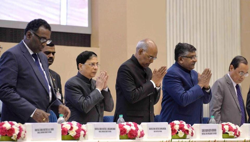 President Ram Nath Kovind with Chief Justice of India Dipak Misra, Union law minister Ravi Shankar Prasad and others at the inauguration of the Constitution Day Celebrations at Vigyan Bhavan in New Delhi on Sunday.