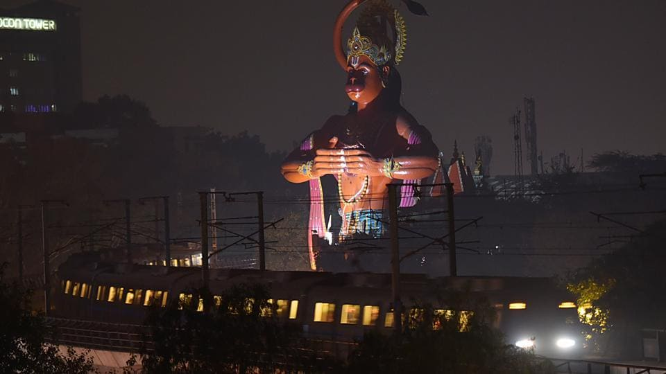 The 108-foot Hanuman statue in Jhandewalan. The Delhi high court has recently asked authorities if it can be airlifted to clear encroachments around it in Karol Bagh and the ridge.