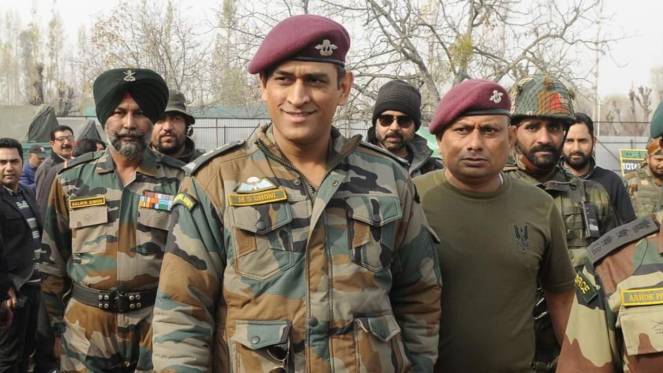 MS Dhoni during a visit to Kunzer, Jammu and Kashmir, as part of an Indian Army initiative. (Waseem Andrabi / HT Photo)