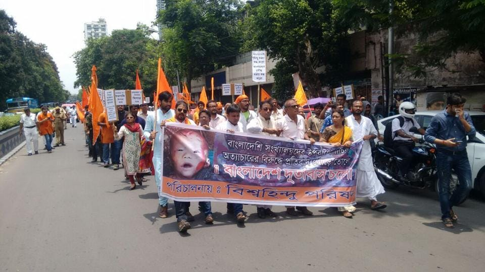 A file picture of a Vishwa Hindu Parishad rally in Kolkata to protest against the alleged atrocities on minorities in Bangladesh.