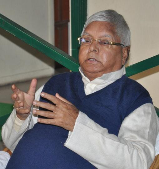 RJD chief Lalu Prasad addressing reporters in Patna on Monday.