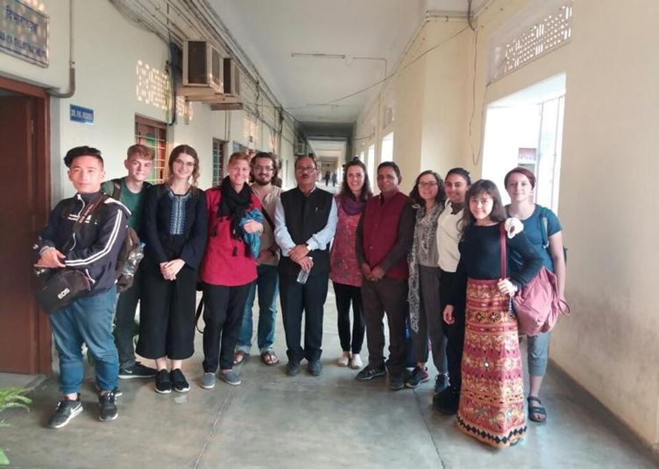 Students of New York based 'THINK Global School' with IITBHUprofessor PK Mishra in Varanasi.
