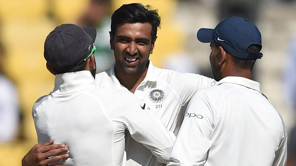 R Ashwin became the fastest bowler in Test history to take 300 wickets as India crushed Sri Lanka by an innings and 239 runs in Nagpur to go 1-0 up in the three-match series.  (AFP)