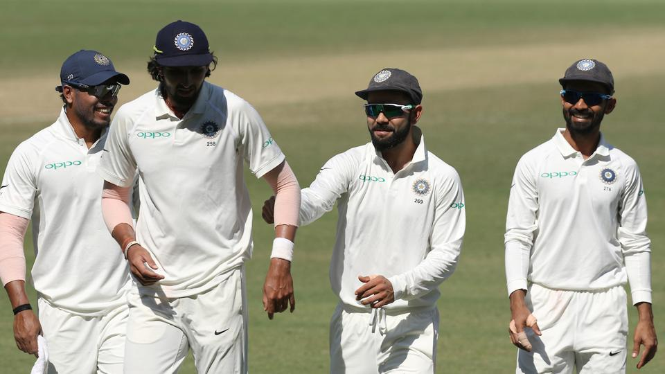 R Ashwin took four wickets in second innings while Ishant, Jadeja and Umesh finished with two apiece.  (BCCI )