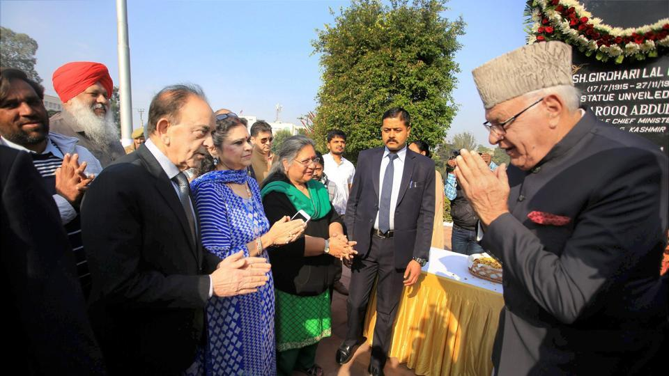 National Conference president Farooq Abdullah meets the family members of former minister Girdhari Lal Dogra before paying floral tributes to him on his 30th death anniversary, at Dogra Chowk in Jammu on November 29.