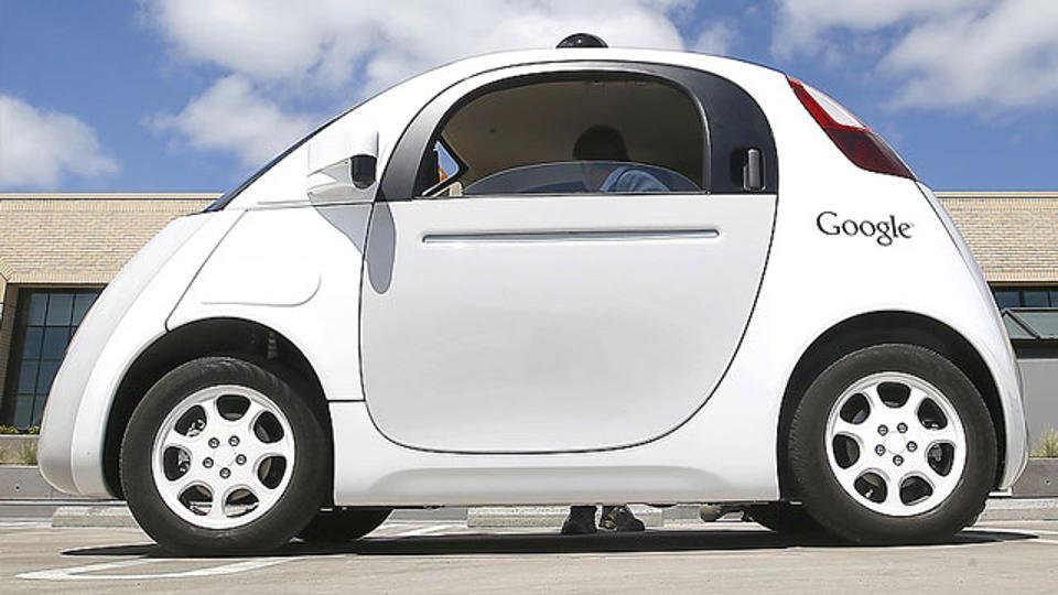 Google's new self-driving prototype car is presented during a demonstration in Mountain View, California.