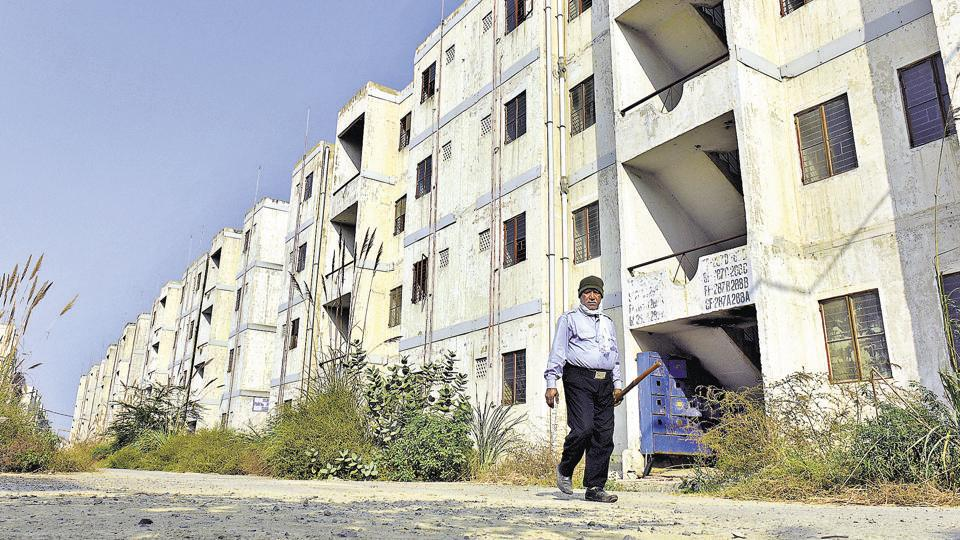 The Rajiv Ratan Awaas Township in Bawana is a ghost town with abandoned apartment buildings constructed for 3,680 poor families in 2008.