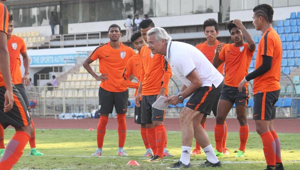 Indian Arrows team members and coach Luis Norton De Matos during a training session ahead of their I-League opener.