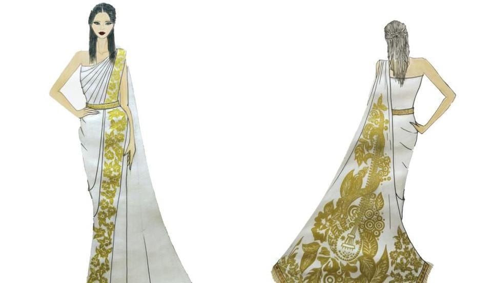 Ivanka is expected to wear a gold and ivory sari gown during her India visit.
