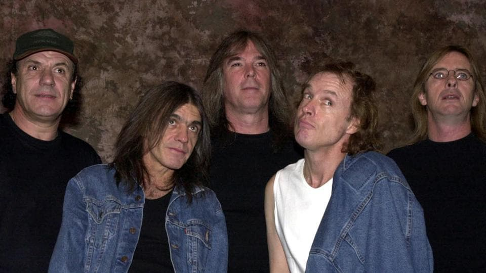 Australian rock band AC/DC pose for a photograph on September 15, 2000 in Hollywood. Legendary guitarist Malcolm Young (2nd from left) passed away earlier this month, aged 64 after suffering from dementia for several years. Hundreds of fans lined the streets outside a cathedral as the funeral procession left the church to the strains of Waltzing Matilda played by a pipe band. (Newsmaker)