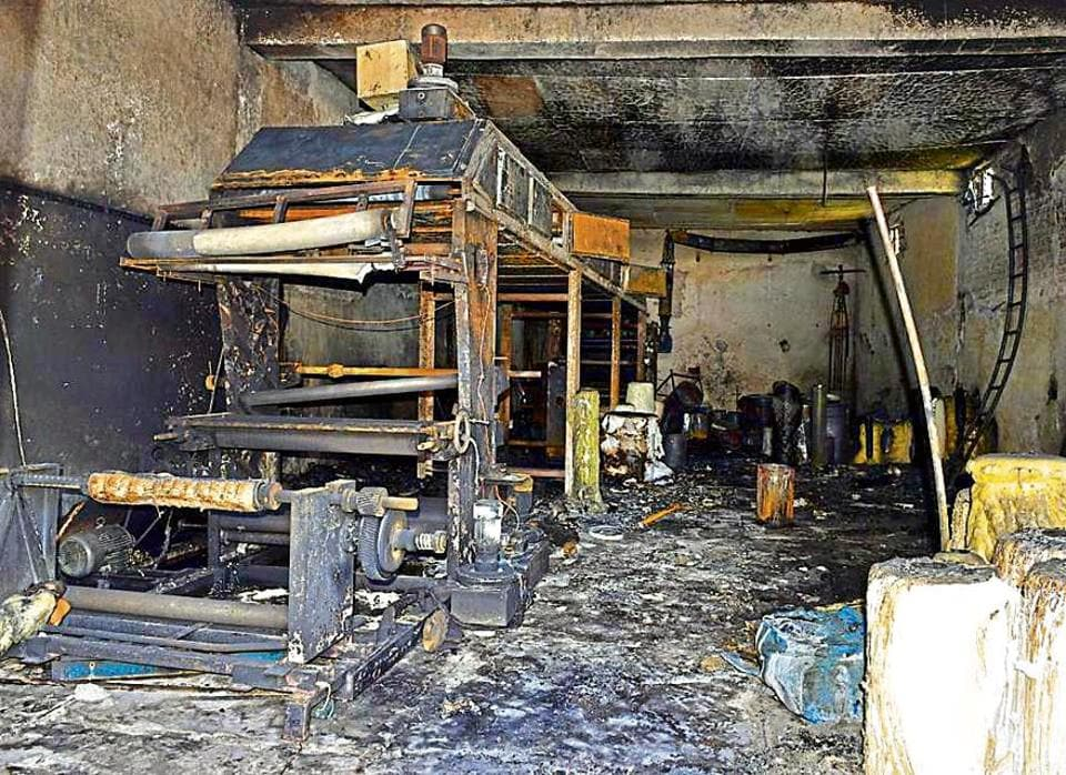 The gutted machinery after a fire broke out in a buildinghousing a printing factory at Kirpal Nagar in Ludhiana on Sunday night.