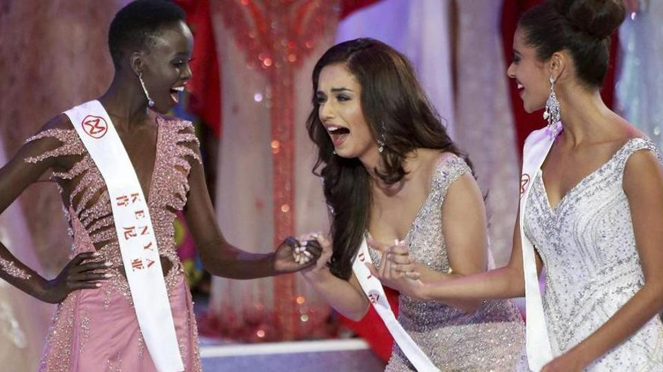 Manushi Chhillar reacts on hearing that she has won the Miss World 2017 title.