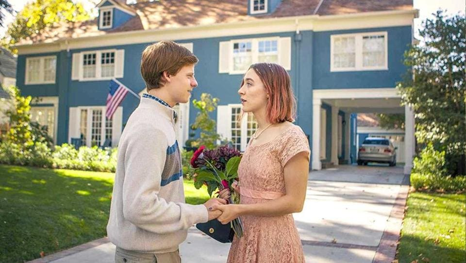 Saoirse Ronan with Timothée Chalamet in a still from the film.
