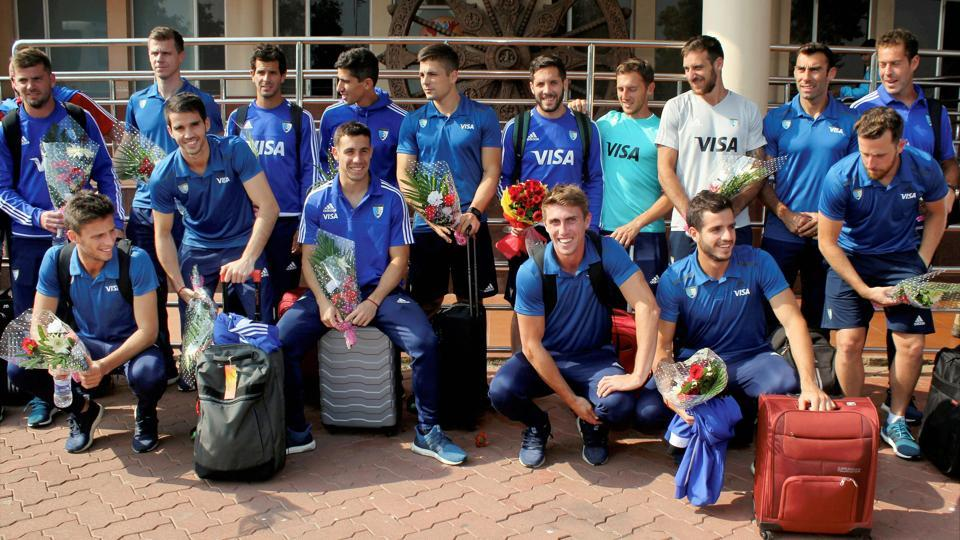 The Argentina hockey team after their arrival in Bhubaneswar on Monday for the Hockey World League Final.