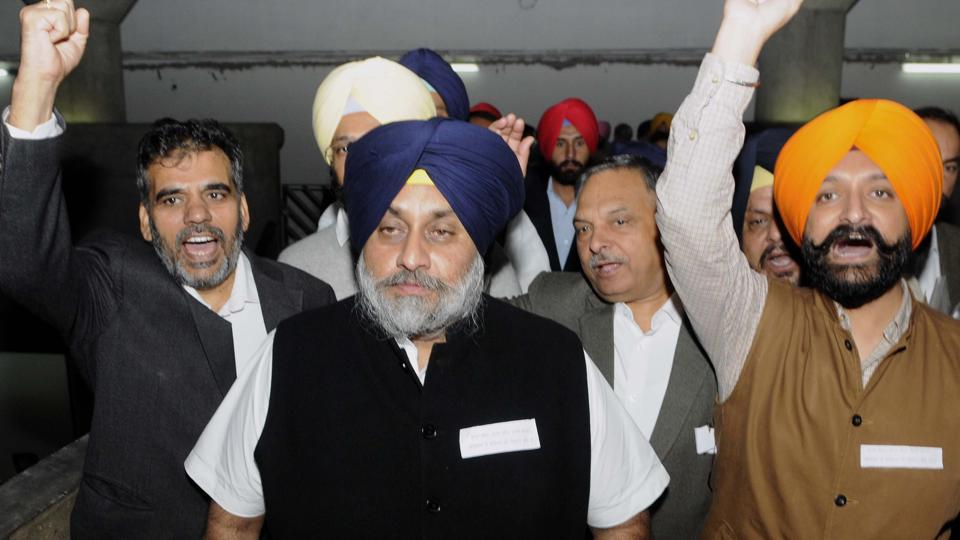 Former deputy chief minister of Punjab, Sukhbir Singh Badal along with senior Akali leaders protesting outside Punjab Vidhan Sabha during session in Chandigarh on Tuesday.