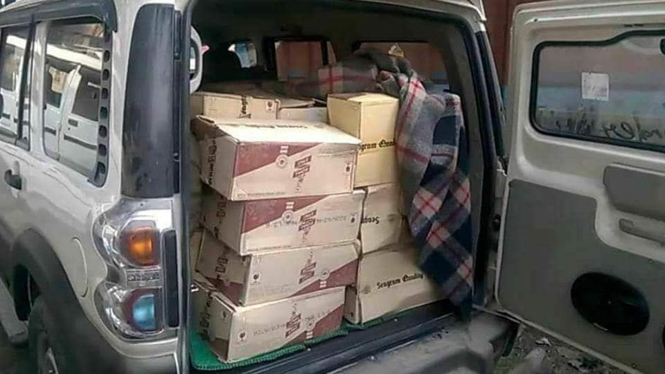 One of the vehicles that was seized with the consignment of liquor in Muzaffarpur district.
