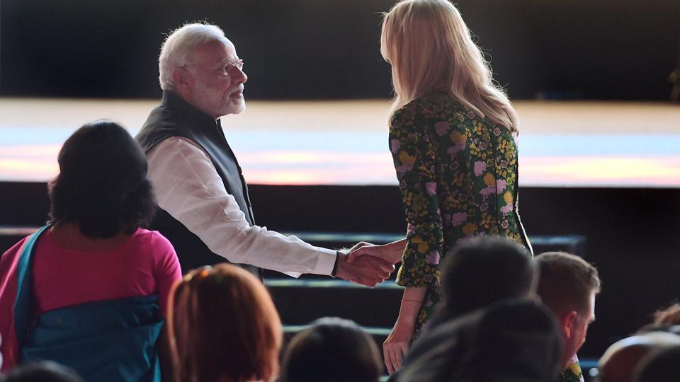 Prime Minister Narendra Modi shakes hands with Ivanka Trump, daughter of and adviser to the US President, at the inauguration of the Global Entrepreneurship Summit 2017 in Hyderabad on Tuesday.