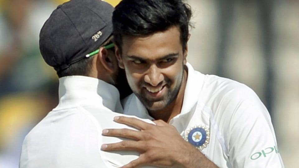 Indian cricket team captain Virat Kohli congratulates Ravinchandran Ashwin after the fall of the last Sri Lanka cricket team second innings wicket on 4th day of the 2nd Test in Nagpur on Tuesday.