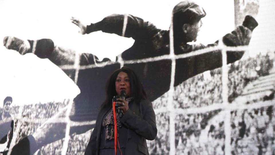 FIFA Secretary General Fatma Samoura delivers a speech during the unveiling of the Official Poster for the 2018 FIFA World Cup.  (REUTERS)