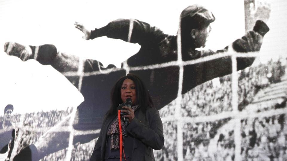 Fatma Samoura delivers a speech during a ceremony unveiling the Official Poster for the 2018 FIFA World Cup Russia in Moscow.  (REUTERS)