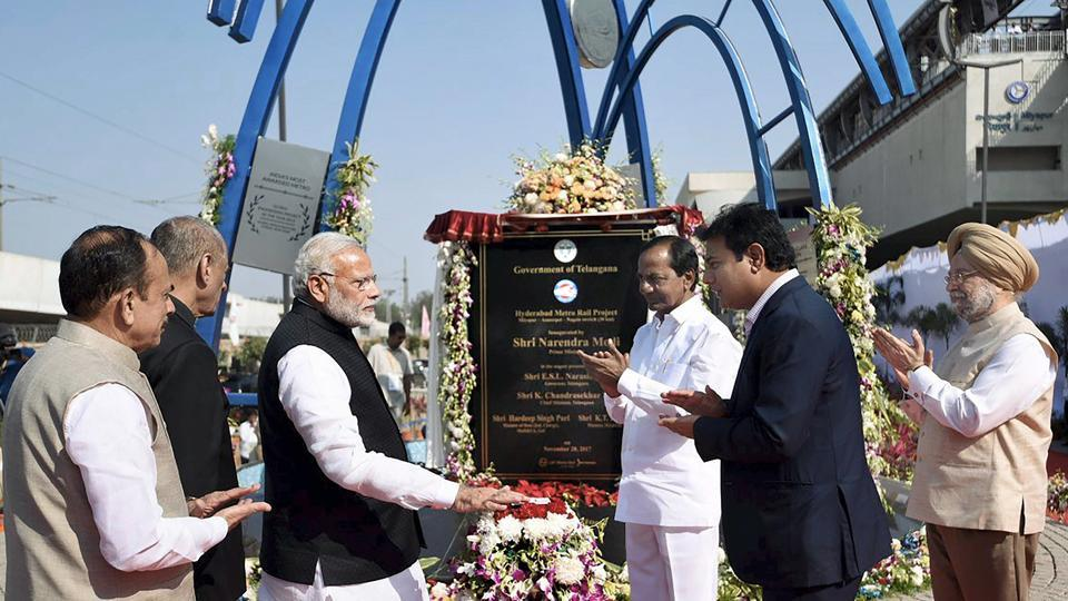 Prime Minister Narendra Modi inaugurates the Hyderabad Metro rail project in Hyderabad.  According to Telangana's Information Technology Minister K T Rama Rao, the trains will run from 6 am to 10 pm initially which would later be rescheduled to 5.30 am to 11 pm, depending on the traffic and demand. (PTI)