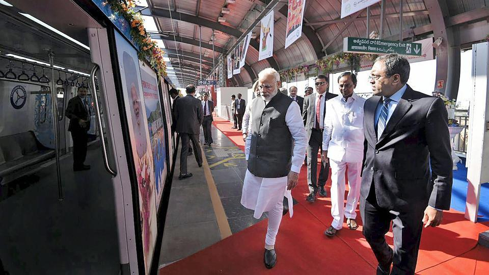 Prime Minister Narendra Modi during the launch of the Metro Rail at Miyapur station in Hyderabad on Tuesday. The Prime Minister took a ride along with Telangana Chief Minister K Chandrasekhar Rao and Governor ESL Narasimhan on the newly inaugurated Metro rail service. The metro will be thrown open to the public from Wednesday. (PTI)