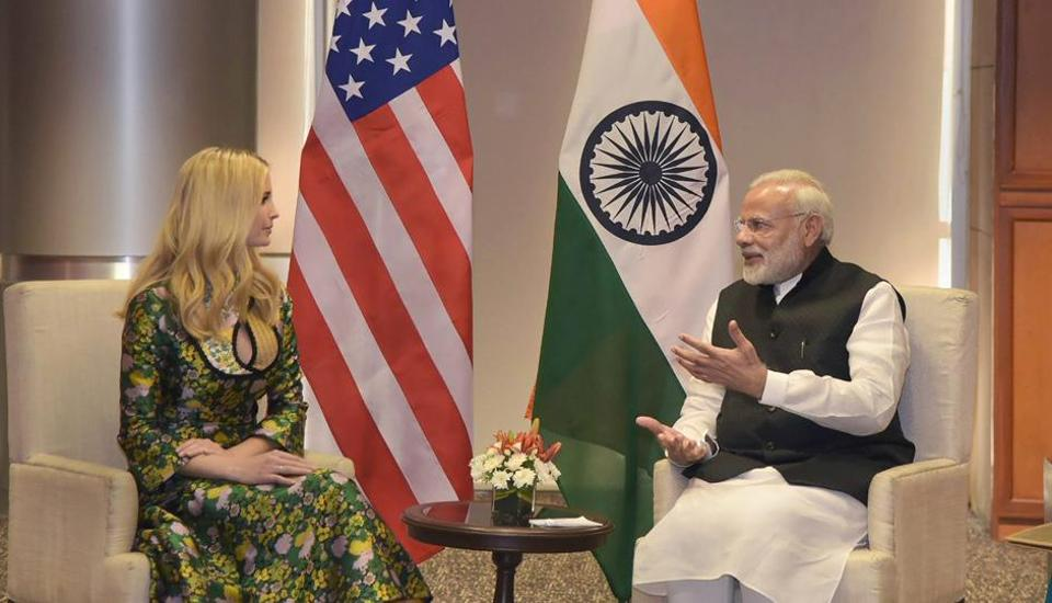 Prime Minister Narendra Modi meets Ivanka Trump, the daughter of advisor to the US President, on the sidelines of the Global Entrepreneurship Summit-2017 in Hyderabad on Tuesday.