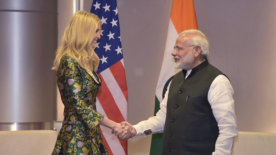 Prime Minister Narendra Modi shakes hands with Ivanka Trump, the advisor to the President of United States, on the sidelines of the Global Entrepreneurship Summit-2017 in Hyderabad on Tuesday.